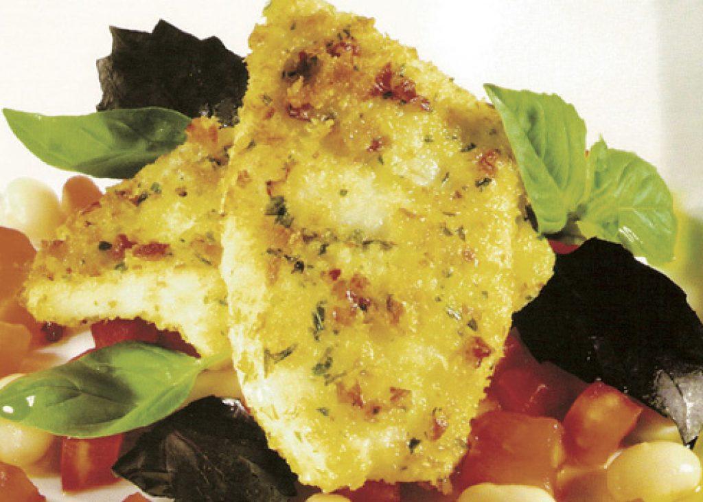 Filetto-di-rombo-impanato-con-fagioli-e-dadini-di-pomodoro